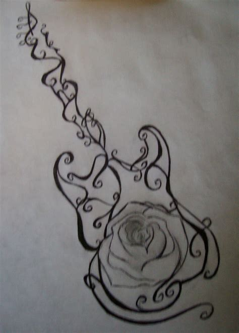 guitar with roses tattoo design pictures by