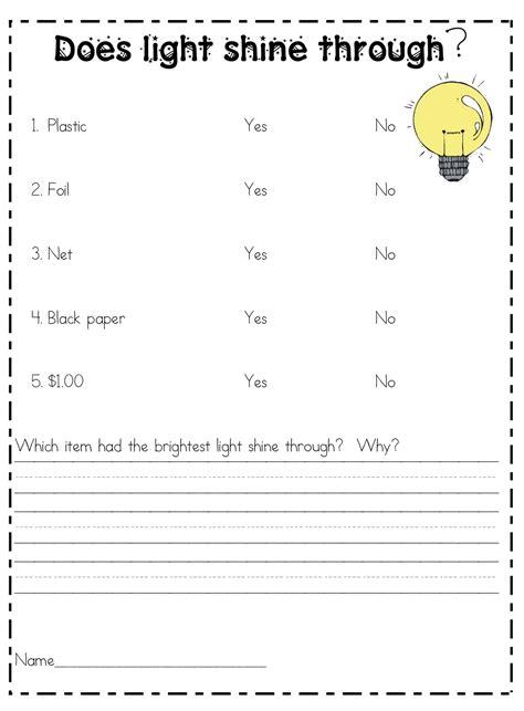 2nd grade science worksheets on light 4th grade unit on light science