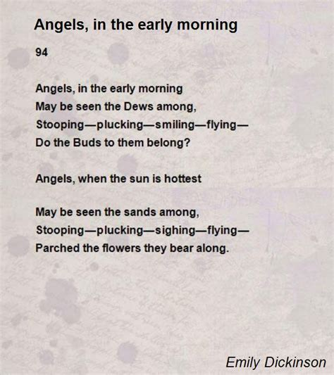 Early Poems in the early morning poem by emily dickinson