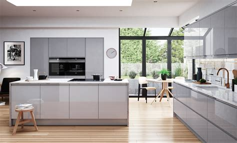 light grey kitchen umbria gloss adornas kitchens fitted kitchens in bangor