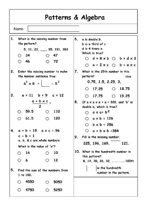 pattern in mathematics using algebraic concepts grade 7 math patterning and algebra worksheets
