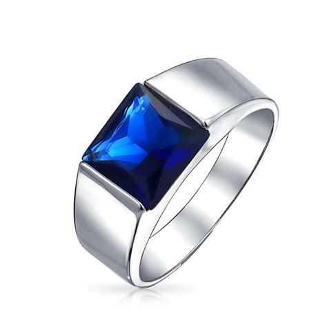 patriotic blue sapphire color cz engagement ring for