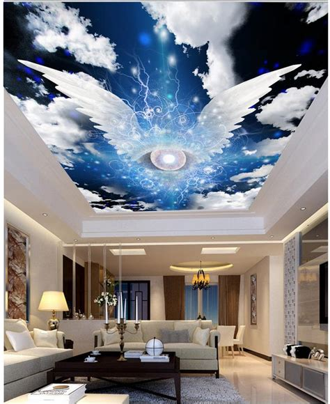 photo wall mural star angel wings cloud ceiling