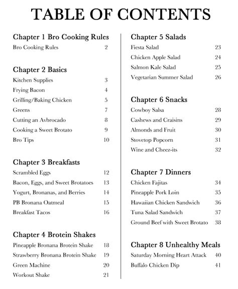 cookbook table of contents template cooking for bros cookbook cooking for bros cookingforbros