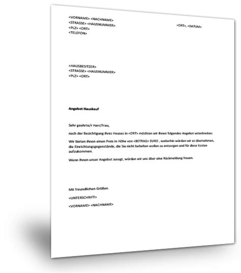 Musterbrief Angebot Immobilie Musterbrief Hauskauf Musterix