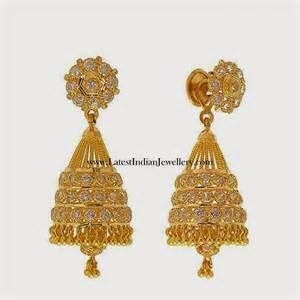 gold earring design gold cz jhumka earring designs
