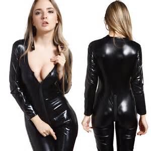 pvc 2 ways zipper open crotch catsuit jumpsuit catwomen bodysuit us 4 16 ebay