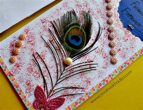 Handmade Arts And Crafts For Sale - peacock feather handmade cards for sale creative khadija