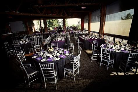 Black Purple Silver White Chairs Indoor Reception Wedding