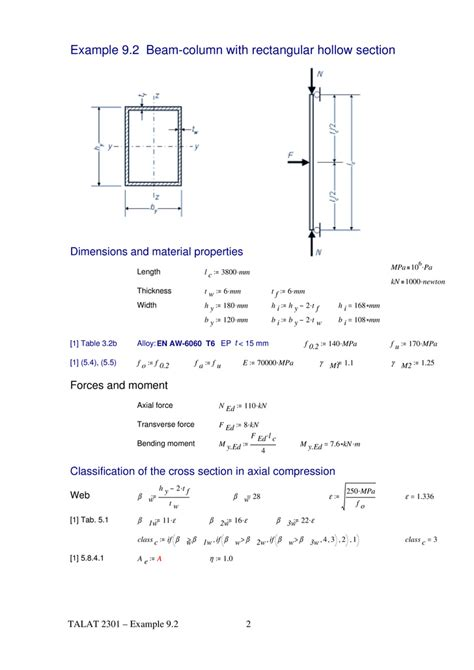 rectangular hollow section properties talat lecture 2301 design of members exle 9 2 beam