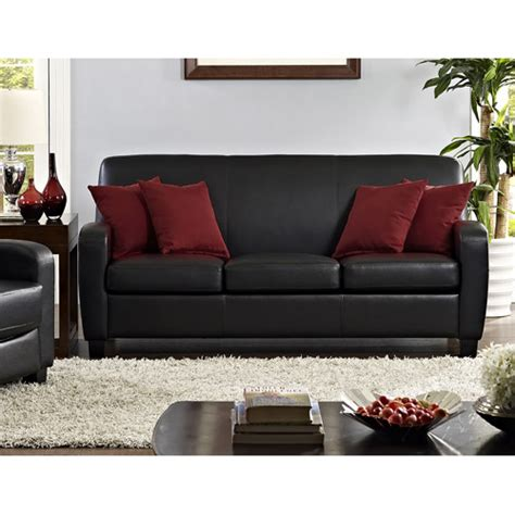 Mainstays Sofa Sleeper Black Faux Leather Mainstays Faux Leather Sofa Black Sofas Loveseats Sectionals New