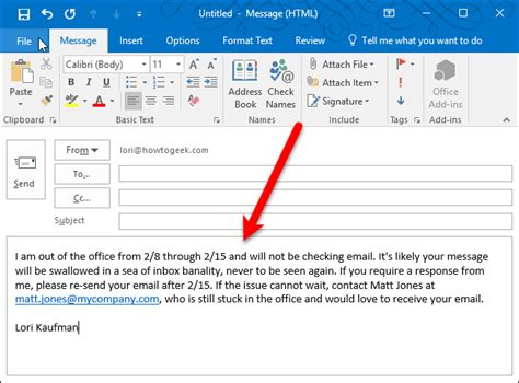 How To Set Up An Out Of Office Reply In Outlook For Windows Automatic Email Reply Template