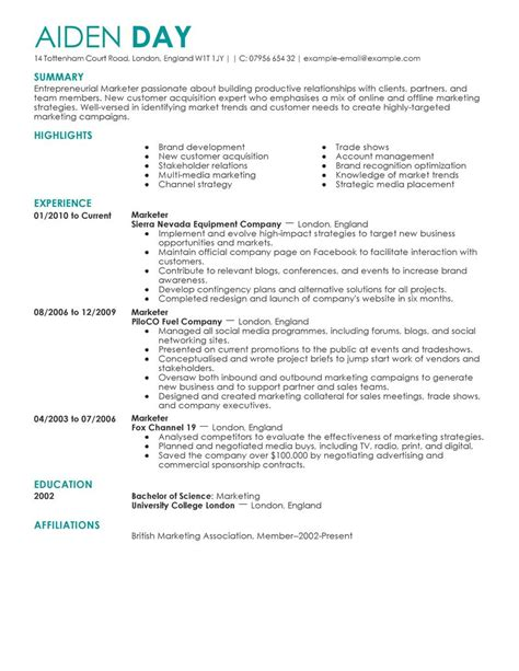 marketing resume exles marketing sle resumes livecareer