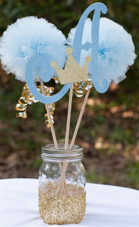 prince baby shower initial blue and gold baby boy by