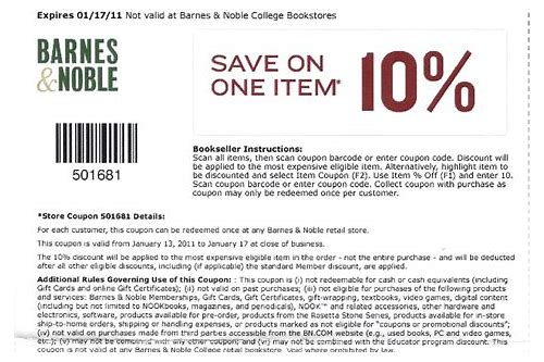 barnes and noble online coupon code december 2018