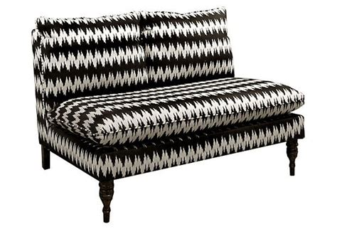 armless settees bacall armless settee black cream on onekingslane com