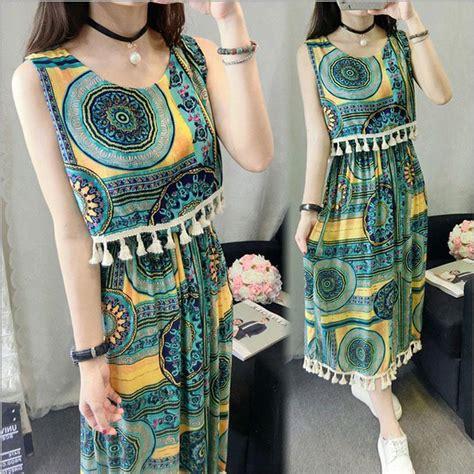 Fashion Dress Wanita Motif Bunga Bohemian dress wanita motif bunga bohemian sleeveless dress all size green jakartanotebook