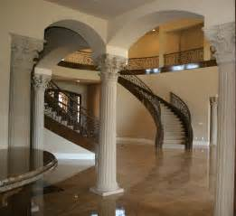 pillars decoration in homes luxurious european interior house decors with moulding round fluted interior columns added