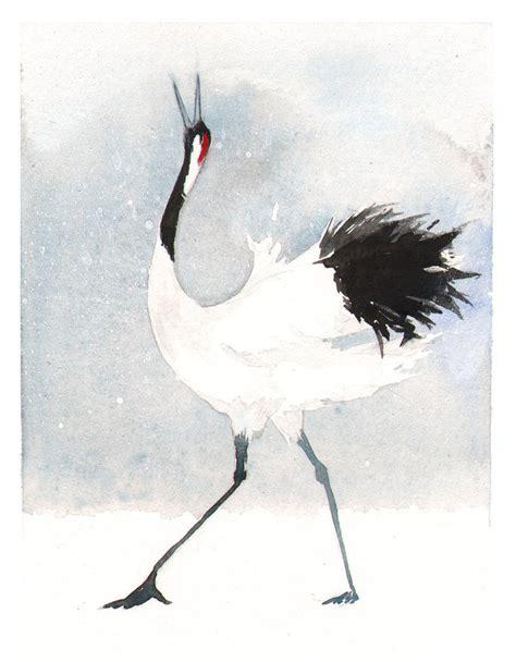 crane painting japanese crane by littlerac on deviantart