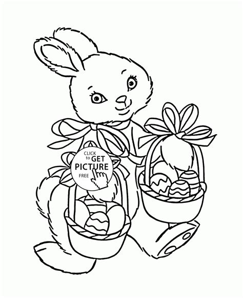 cute easter bunny coloring page for kids holidays
