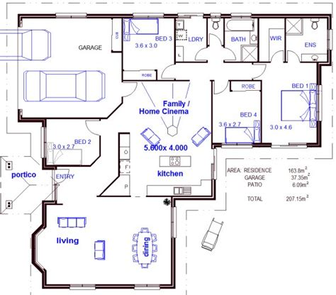 Floor Plans 4 Bedroom Free House Plans Metric