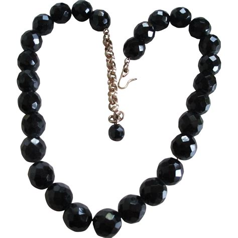 black bead vintage glass black bead facet necklace from