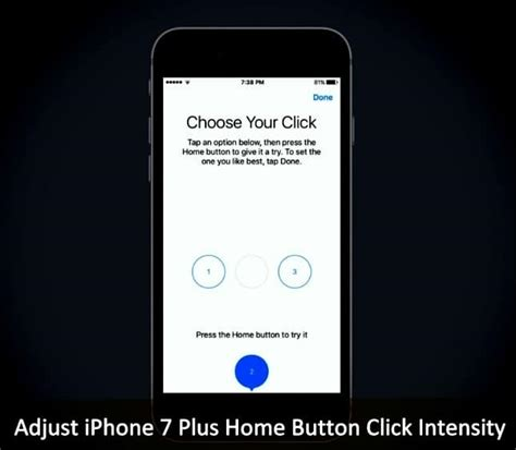 adjust iphone   home button click intensity