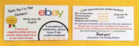 The Best Ebay Business Cards Ebay Sellers Ebay Thank You Card Template
