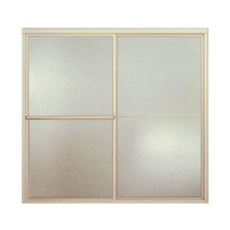 Pebbled Glass Shower Door Sterling Deluxe 59 3 8 In X 56 1 4 In Framed Sliding Tub Shower Door In Nickel With Pebbled