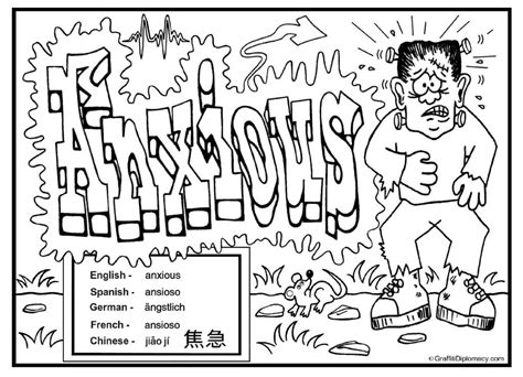 coloring book for anxiety multicultural coloring page anxious graffiti free