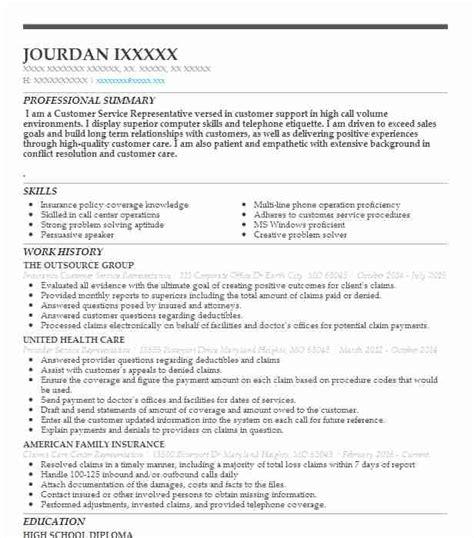 insurance customer service resume senior customer service resume