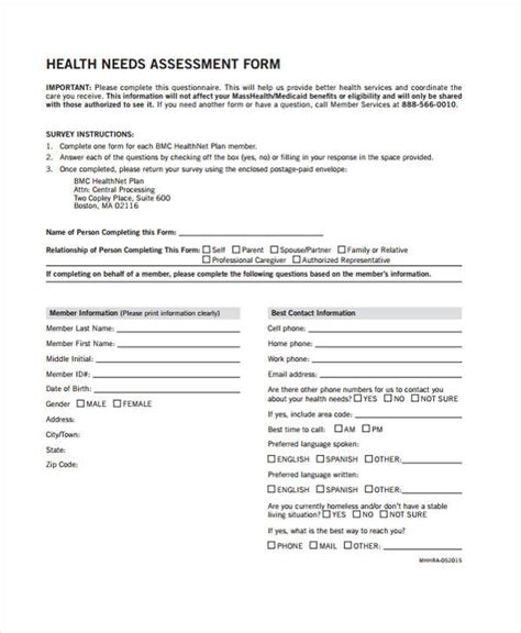 Health Assessment Forms In Pdf Community Health Assessment Template