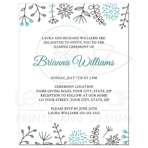 Invitation Letter Format For Naming Ceremony naming name giving ceremony invitation with flower and leaf borders
