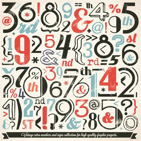 ai number pattern vintage symbol and number collection vector free download
