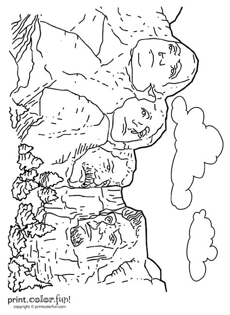 coloring page for mount rushmore mount rushmore coloring page print color fun