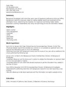 Investigator Resume by Professional Background Investigator Templates To Showcase Your Talent Myperfectresume