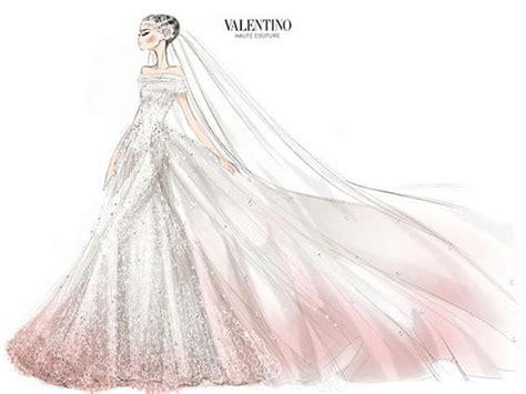 desain lop wedding she really was a blushing bride valentino reveals sketch