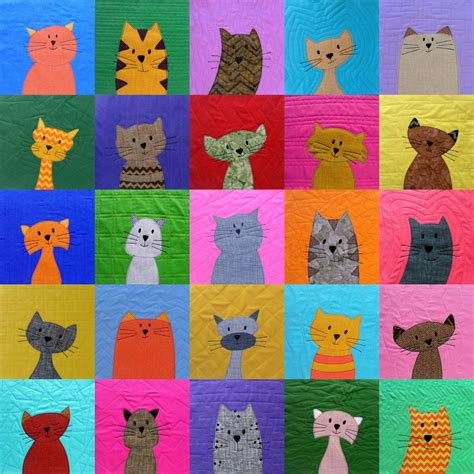 Cat Quilting Patterns by Cats Applique Quilt Pattern Is Here Shiny Happy World