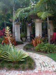Florida Backyard Landscaping Ideas Stones Used As Columns For Rustic Pergola In A Msouth Florida Backyard Tropical Landscape