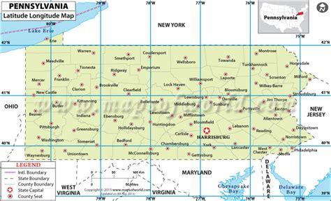 maryland map coordinates pennsylvania latitude and longitude map