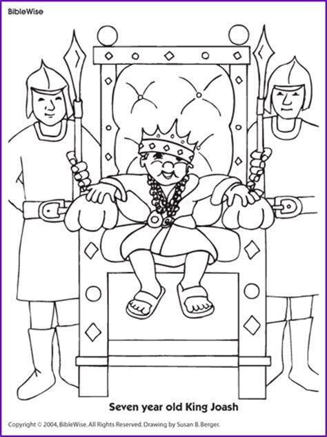 coloring seven year old king joash kids korner biblewise
