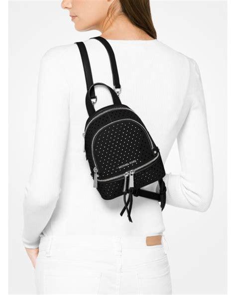 Michael Kors Rhea Backpack Mini 2 michael kors rhea mini perforated leather backpack in black lyst