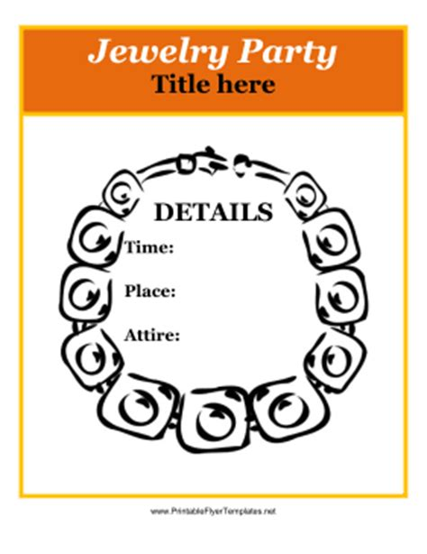 printable jewelry templates jewelry party flyer