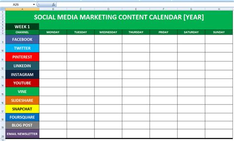 social media planner social media calender template excel 2014 editorial