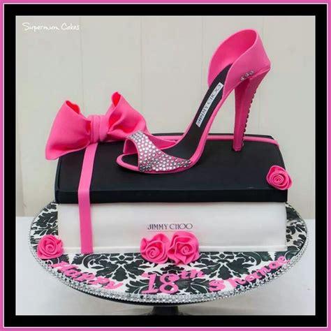 cakes shoes pink black jimmy choo shoe cake like