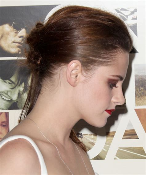 Kristen Stewart Updo Long Straight Casual Updo Hairstyle