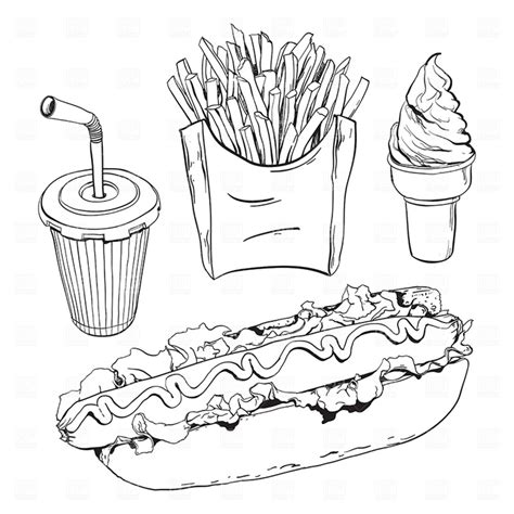 free coloring pages of drawings of junk food