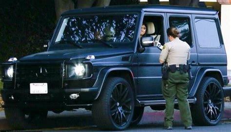 mercedes jeep matte black inside jenner gets a speeding ticket in g wagen from