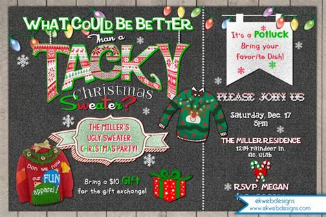 Ugly Sweater Christmas Party Invitation   Tacky Sweater Invitation