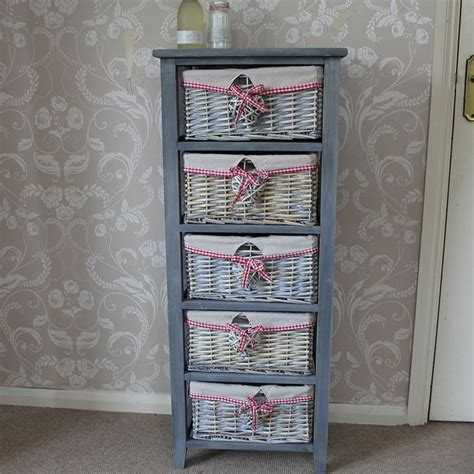 Wicker 5 Drawer Storage Unit shabby chic furniture style home accessories melody maison